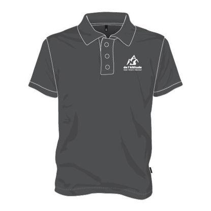 Image de Polo avec boutons (polyester / Gris foncé)